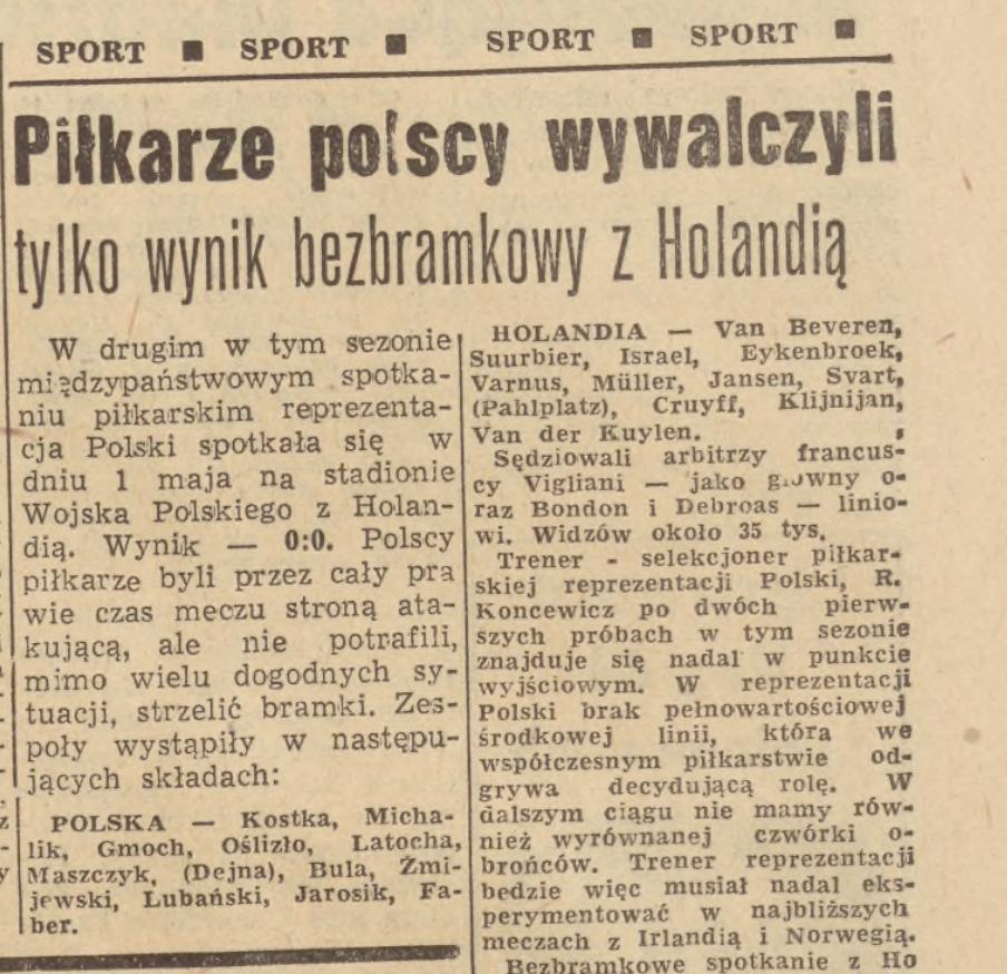 Polska Holandia 1968 Dziennik Bałtycki