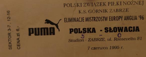 Polska - Słowacja 1995 Zabrze
