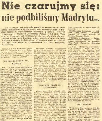 Hiszpania - Polska 1959- Trybuna Robotnicza
