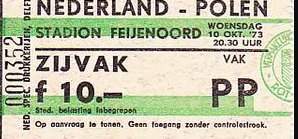 Holandia -Polska 1973 bilet, voetbalstats.nl