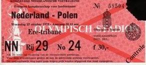 Holandia -Polska 1975 bilet , voetbalstats.nl