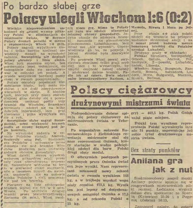 Mecz Polska – Włochy (1 listopada 1965 r.)