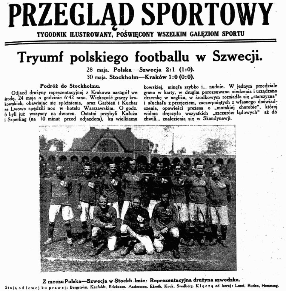 Szwecja-Polska 28 maja 1922. Przegląd Sportowy z dn. 09.06.1922