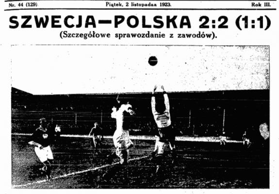 Polska - Szwecja 1 listopada 1923. Przegląd Sportowy z dn. 2.11.1923