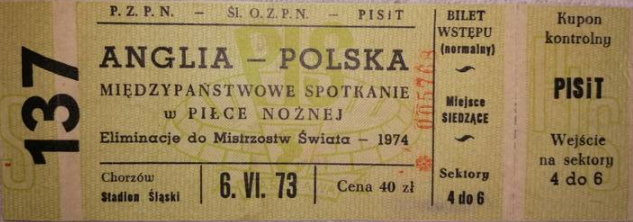 Polska-Anglia 1973 Chorzów