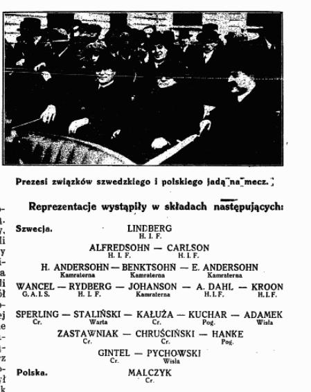 Polska- Szwecja 1 listopada 1925- Przegląd Sportowy