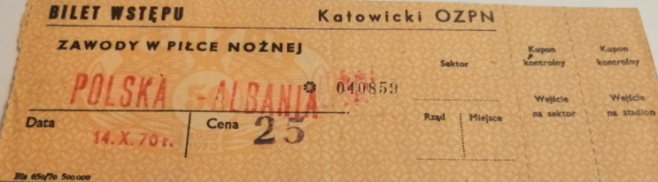 Polska - Albania 1970 Bilet