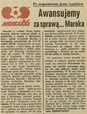 Anglia-Polska 1986