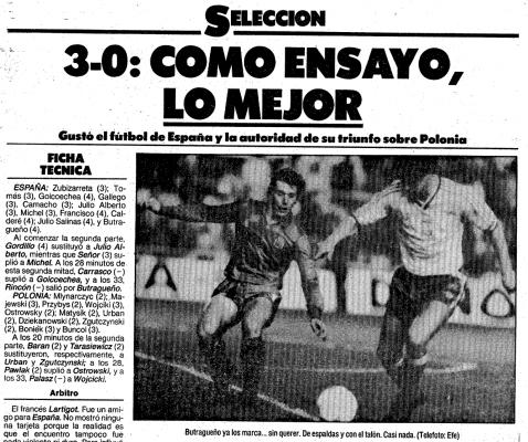 Hiszpania - Polska 1986 El Mundo Deportivo