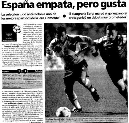 Hiszpania - Polska 1994 Źródło: El Mundo Deportivo