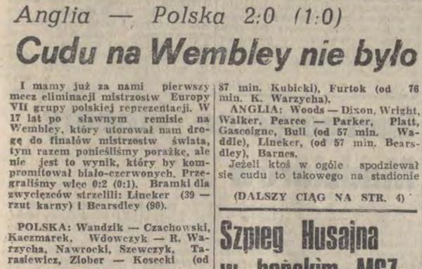 Anglia-Polska 1990