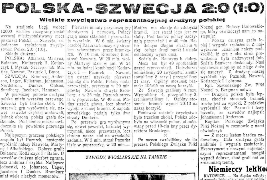Polska - Szwecja 1932