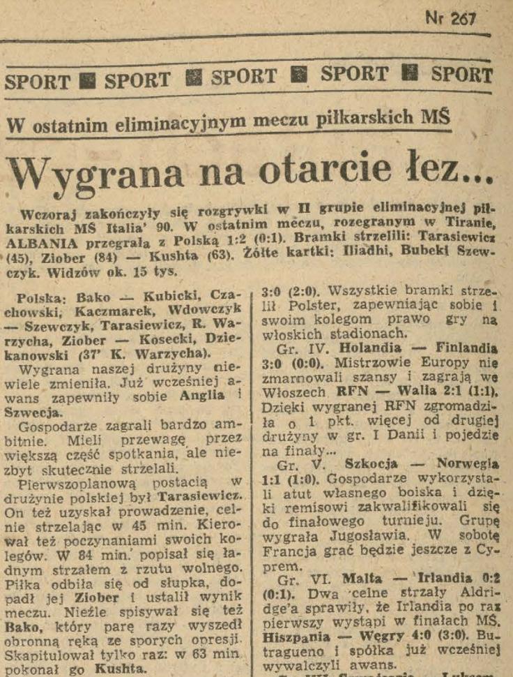 Albania - Polska 1989 Dziennik Polski nr 267 16.10.1989