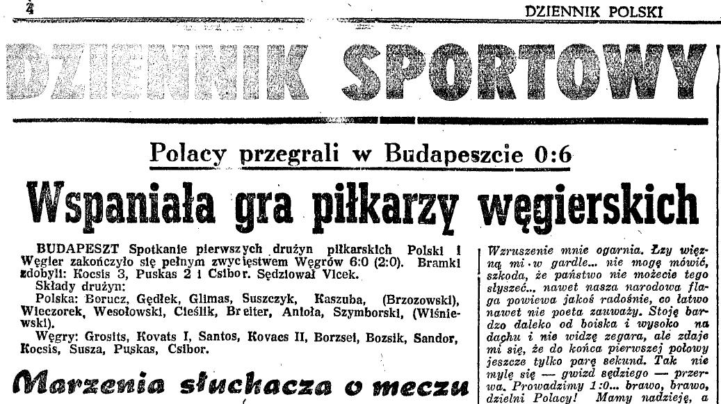 Węgry - Polska 6:0 1951