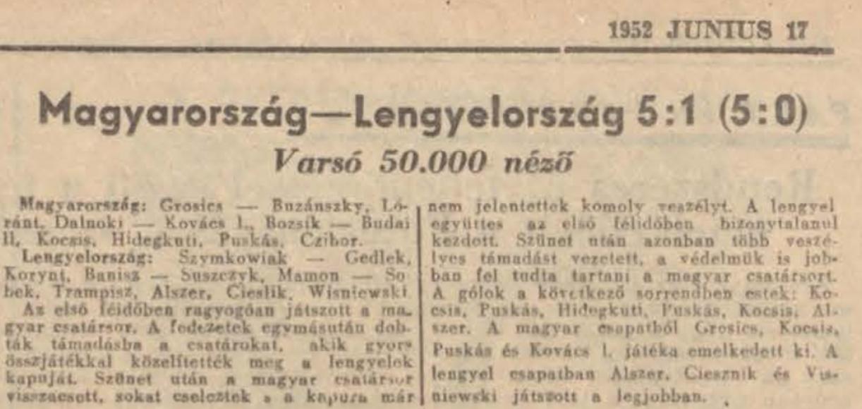 Polska - Węgry 1952