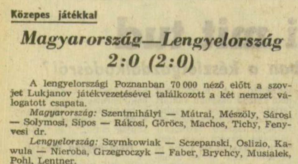 Polska - Węgry 1962 Poznań