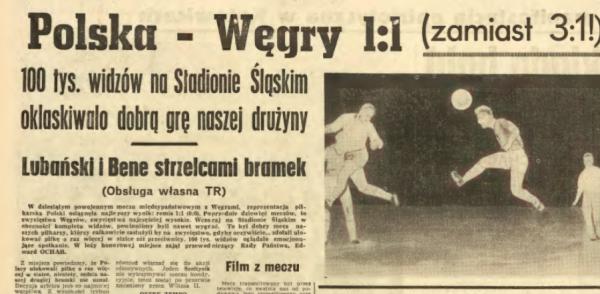 Polska - Węgry 1:1 1966 Chorzów