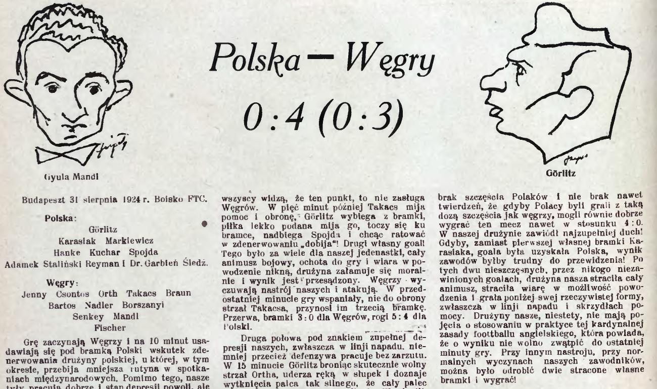 Węgry - Polska 1924 Budapeszt