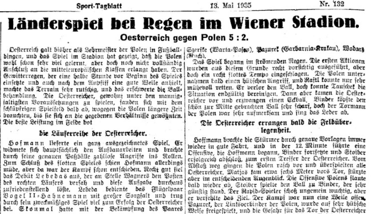 Austria - Polska 12.05.1935