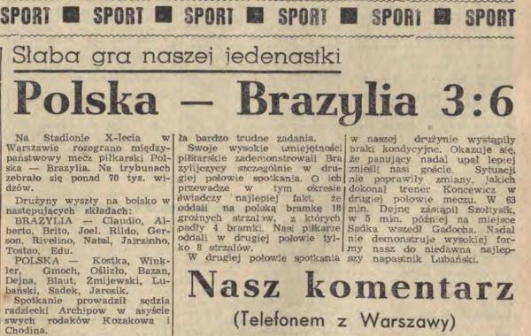 Polska - Brazylia 3-6 1968