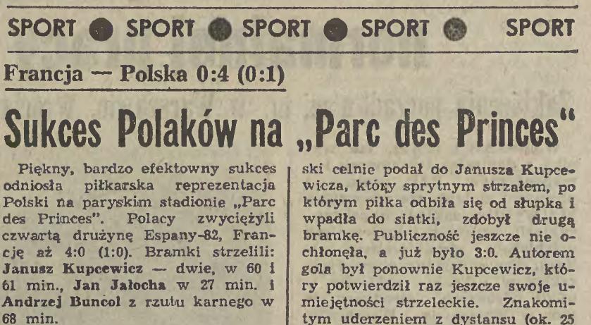 Francja - Polska 0-4 1982