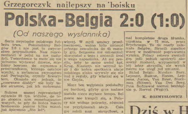 Polska - Belgia 1962